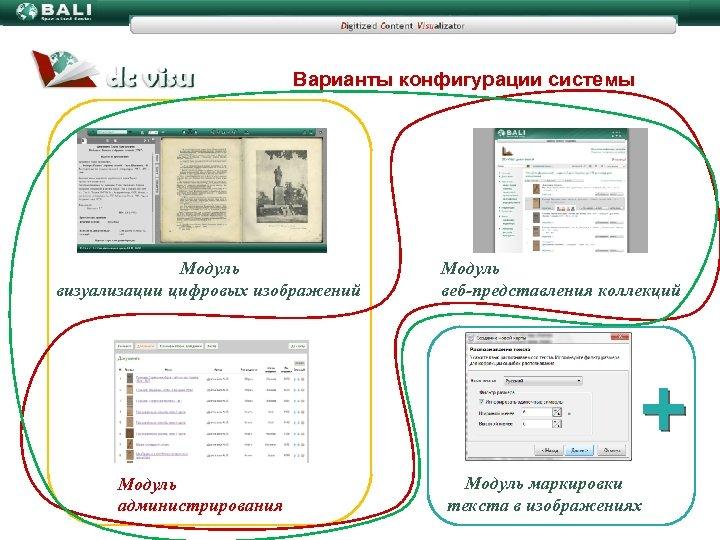 Варианты конфигурации системы Модуль визуализации цифровых изображений Модуль администрирования Модуль веб-представления коллекций Модуль