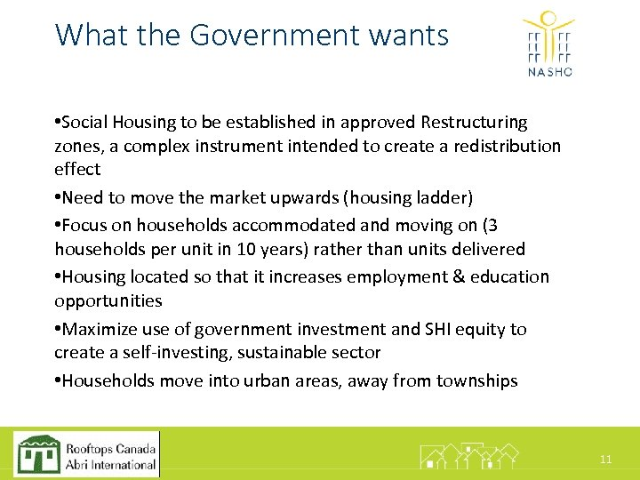 What the Government wants • Social Housing to be established in approved Restructuring zones,