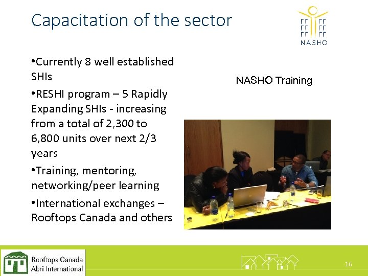 Capacitation of the sector • Currently 8 well established SHIs • RESHI program –