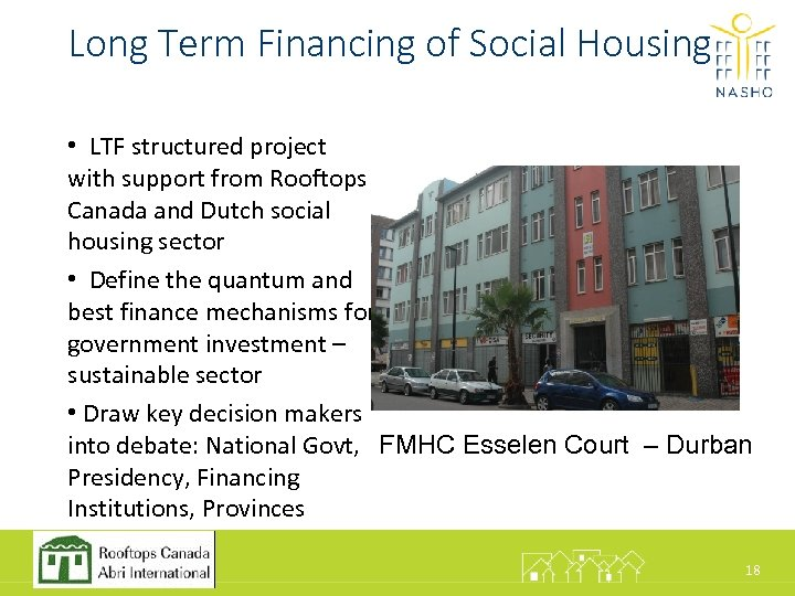 Long Term Financing of Social Housing • LTF structured project with support from Rooftops
