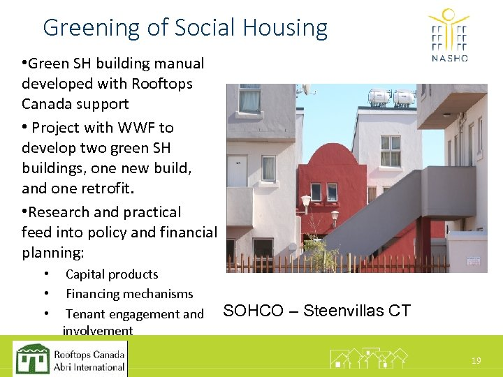 Greening of Social Housing • Green SH building manual developed with Rooftops Canada support