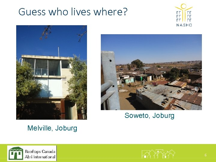 Guess who lives where? • M Soweto, Joburg Melville, Joburg 6