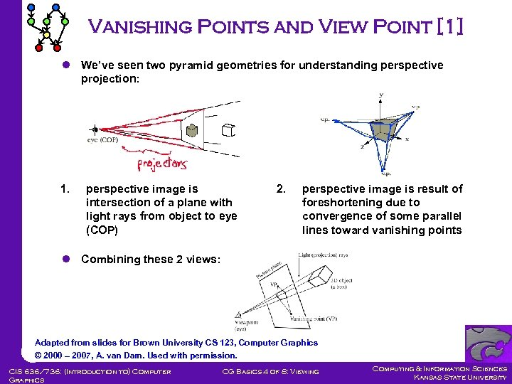 Vanishing Points and View Point [1] l We've seen two pyramid geometries for understanding