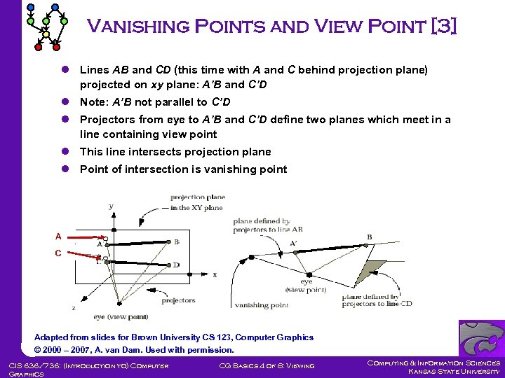 Vanishing Points and View Point [3] l Lines AB and CD (this time with
