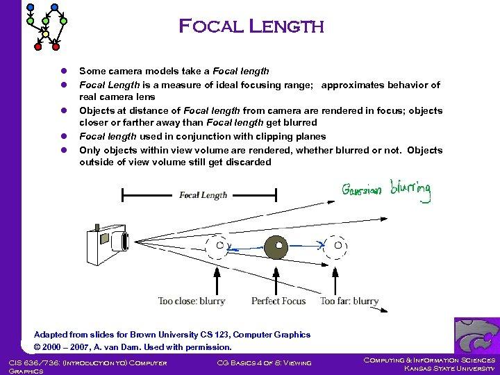 Focal Length l l l Some camera models take a Focal length Focal Length