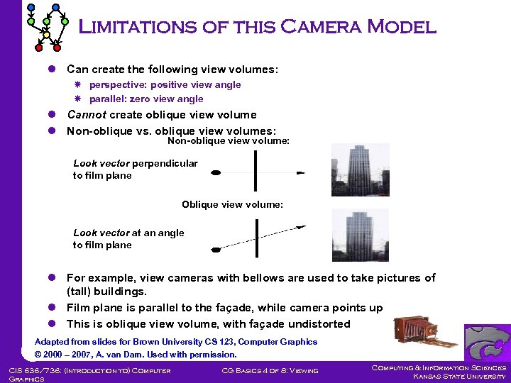 Limitations of this Camera Model l Can create the following view volumes: perspective: positive