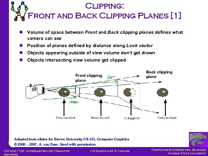 Clipping: Front and Back Clipping Planes [1] l Volume of space between Front and