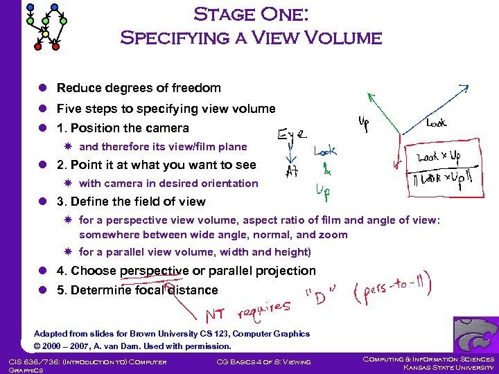 Stage One: Specifying a View Volume l Reduce degrees of freedom l Five steps