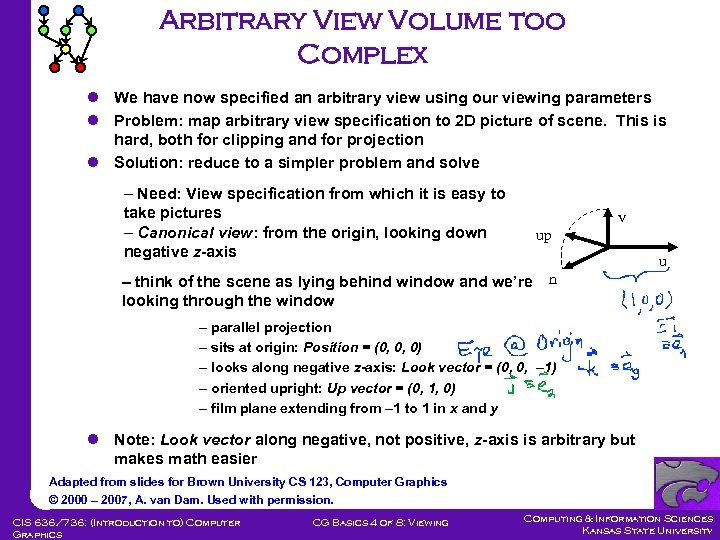 Arbitrary View Volume too Complex l We have now specified an arbitrary view using
