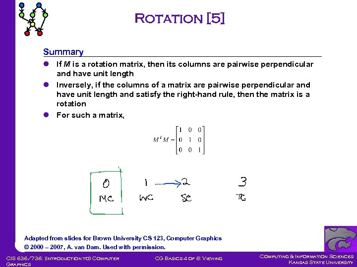 Rotation [5] Summary l If M is a rotation matrix, then its columns are