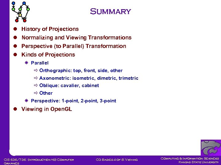 Summary l History of Projections l Normalizing and Viewing Transformations l Perspective (to Parallel)