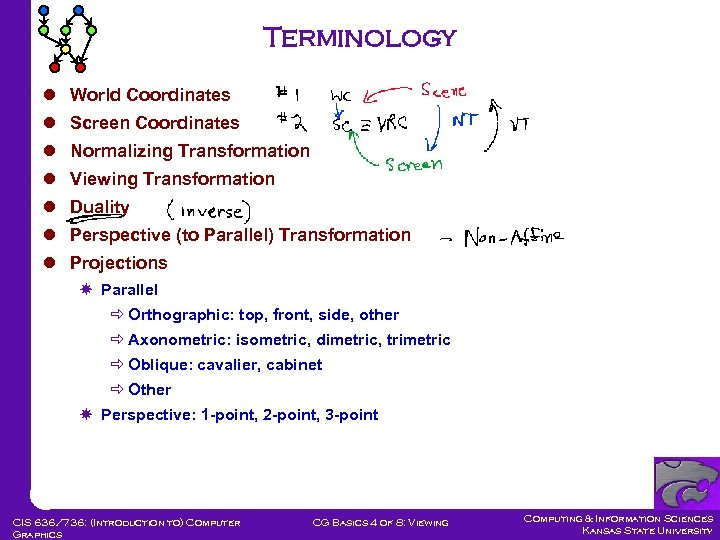 Terminology l World Coordinates l Screen Coordinates l Normalizing Transformation l Viewing Transformation l