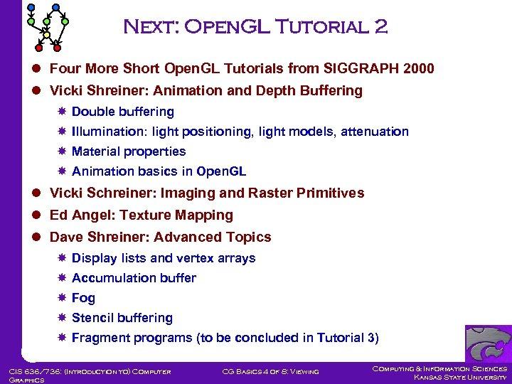 Next: Open. GL Tutorial 2 l Four More Short Open. GL Tutorials from SIGGRAPH