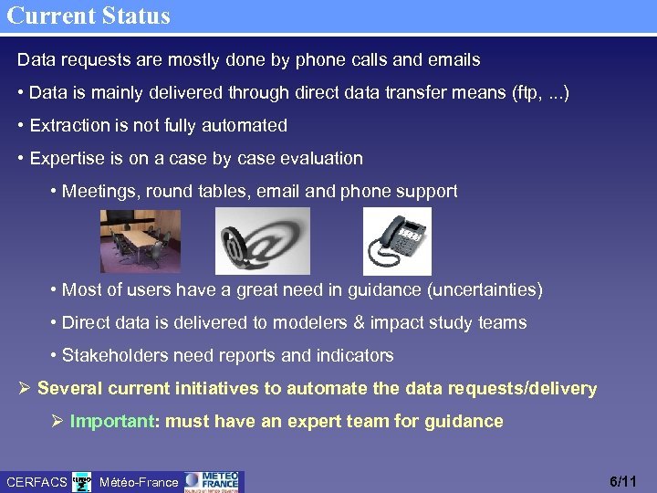 Current Status Data requests are mostly done by phone calls and emails • Data