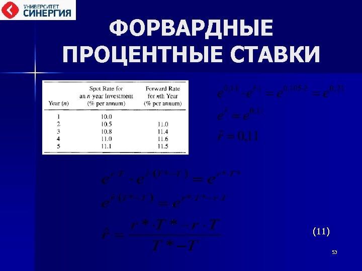 ФОРВАРДНЫЕ ПРОЦЕНТНЫЕ СТАВКИ (11) 53