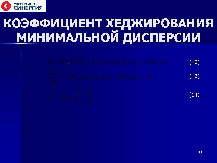 КОЭФФИЦИЕНТ ХЕДЖИРОВАНИЯ МИНИМАЛЬНОЙ ДИСПЕРСИИ (12) (13) (14) 55