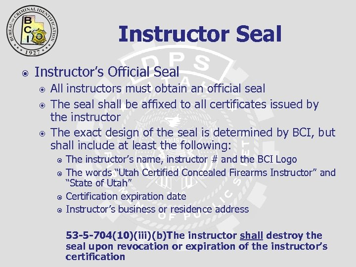 Instructor Seal Instructor's Official Seal All instructors must obtain an official seal The seal