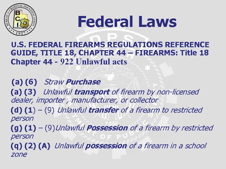 Federal Laws U. S. FEDERAL FIREARMS REGULATIONS REFERENCE GUIDE, TITLE 18, CHAPTER 44 –