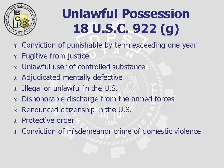 Unlawful Possession 18 U. S. C. 922 (g) Conviction of punishable by term exceeding