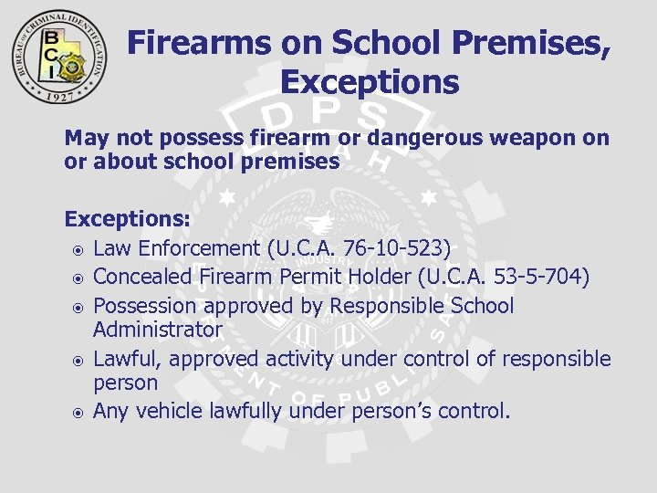 Firearms on School Premises, Exceptions May not possess firearm or dangerous weapon on or