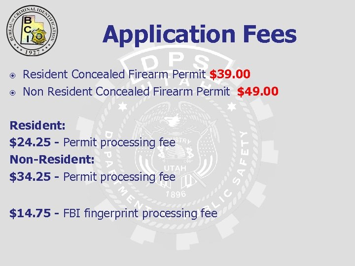 Application Fees Resident Concealed Firearm Permit $39. 00 Non Resident Concealed Firearm Permit $49.