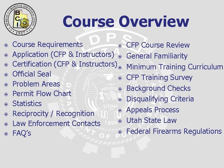 Course Overview Course Requirements Application (CFP & Instructors) Certification (CFP & Instructors) Official Seal