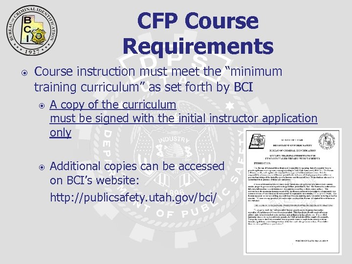 "CFP Course Requirements Course instruction must meet the ""minimum training curriculum"" as set forth"