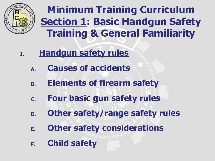 Minimum Training Curriculum Section 1: Basic Handgun Safety Training & General Familiarity Handgun safety