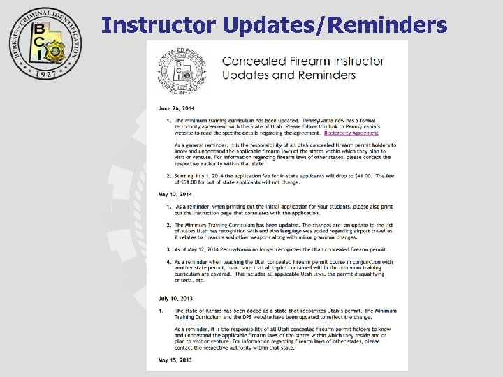 Instructor Updates/Reminders
