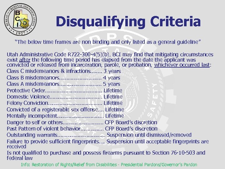 "Disqualifying Criteria ""The below time frames are non binding and only listed as"