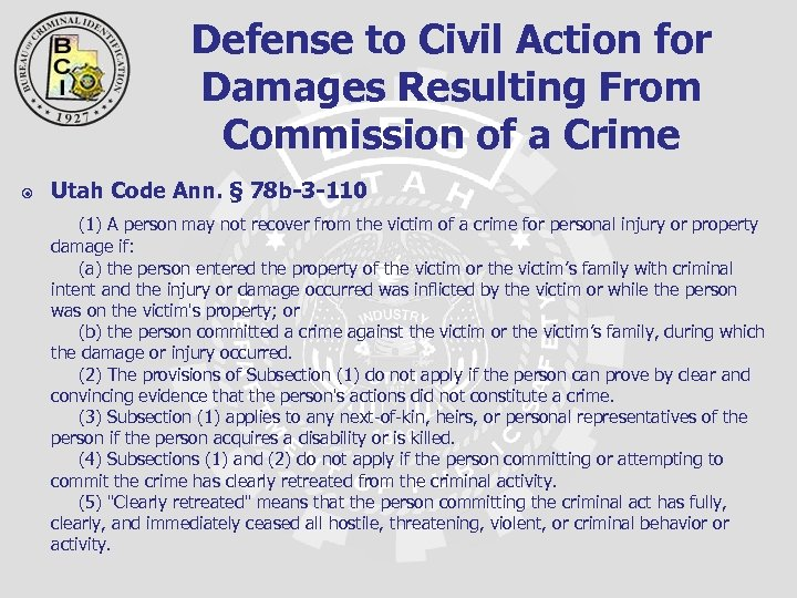 Defense to Civil Action for Damages Resulting From Commission of a Crime Utah Code
