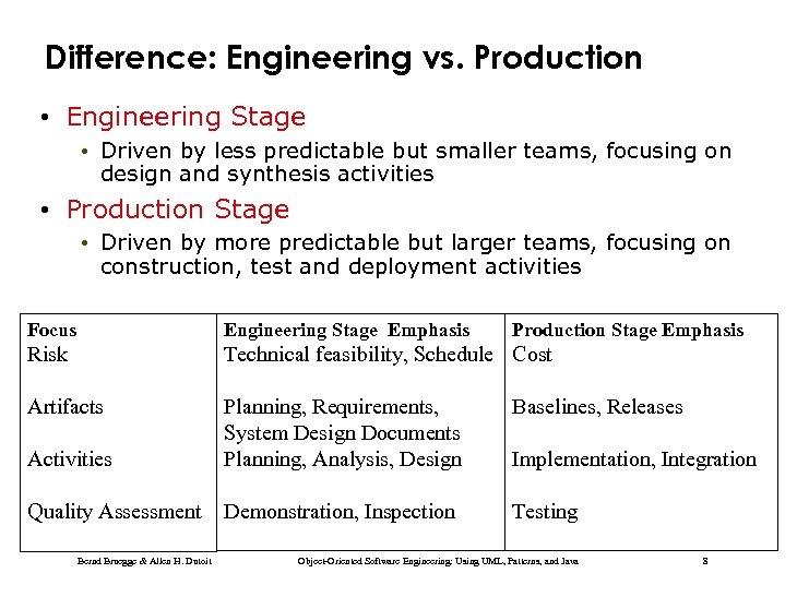 Difference: Engineering vs. Production • Engineering Stage • Driven by less predictable but smaller