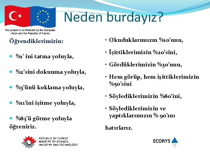 Neden burdayız? This project is co-financed by the European Union and the Republic of