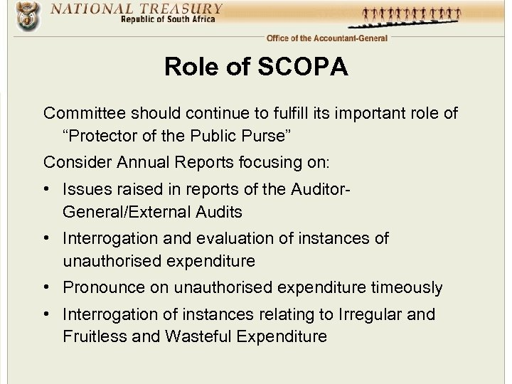 """Role of SCOPA Committee should continue to fulfill its important role of """"Protector of"""