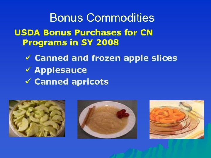Bonus Commodities USDA Bonus Purchases for CN Programs in SY 2008 ü Canned and