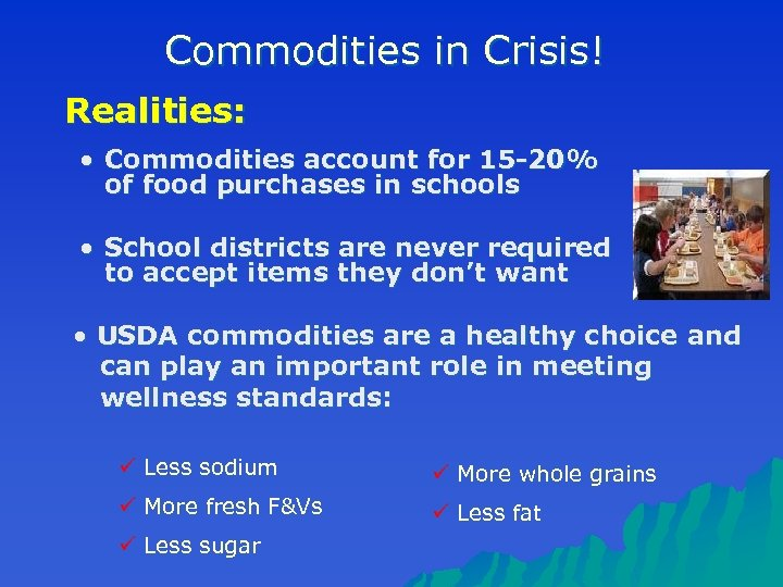 Commodities in Crisis! Realities: • Commodities account for 15 -20% of food purchases in