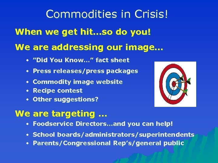 Commodities in Crisis! When we get hit…so do you! We are addressing our image…