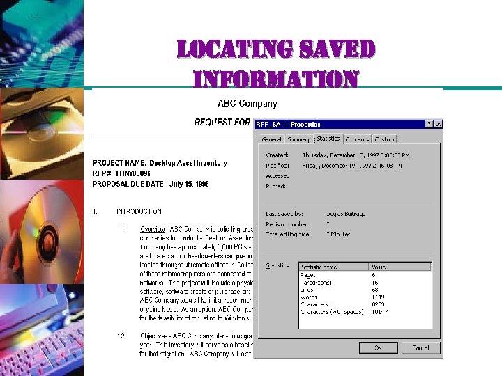 locating saved information