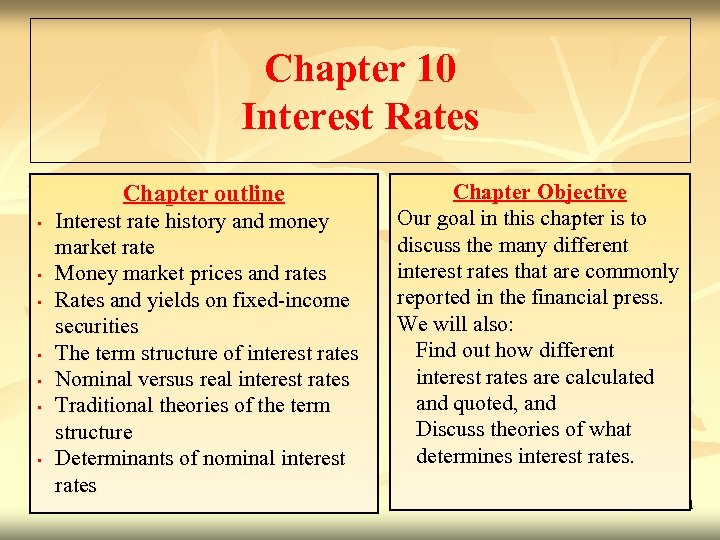 Chapter 10 Interest Rates Chapter outline • • Interest rate history and money market