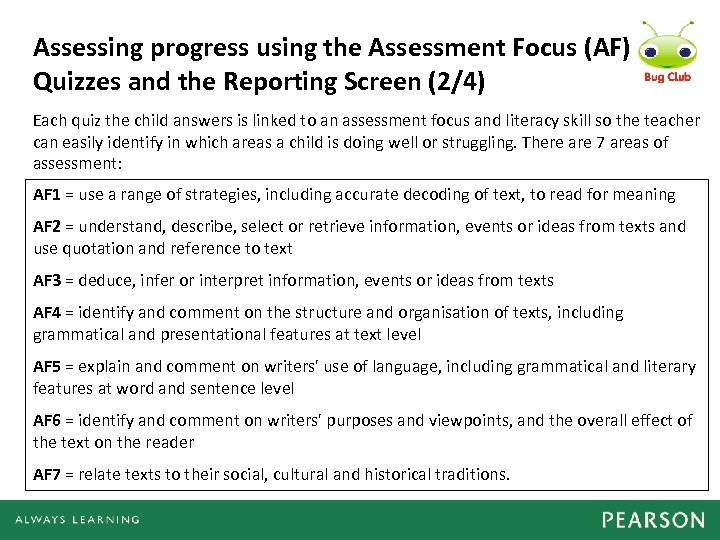 Assessing progress using the Assessment Focus (AF) Quizzes and the Reporting Screen (2/4) Each