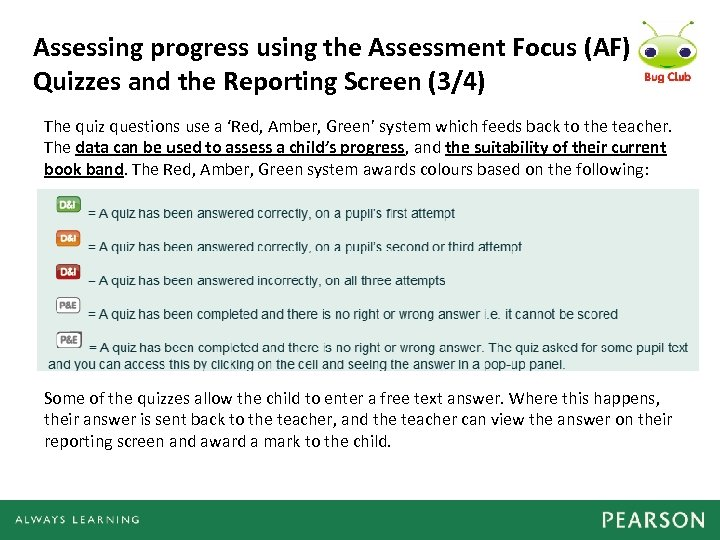 Assessing progress using the Assessment Focus (AF) Quizzes and the Reporting Screen (3/4) The