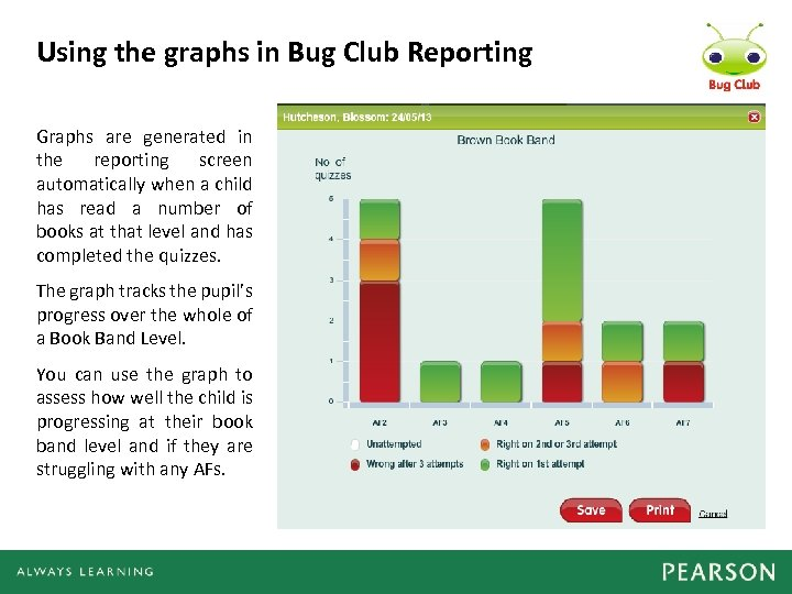 Using the graphs in Bug Club Reporting Graphs are generated in the reporting screen