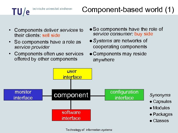 Component-based world (1) • Components deliver services to their clients: sell side • So