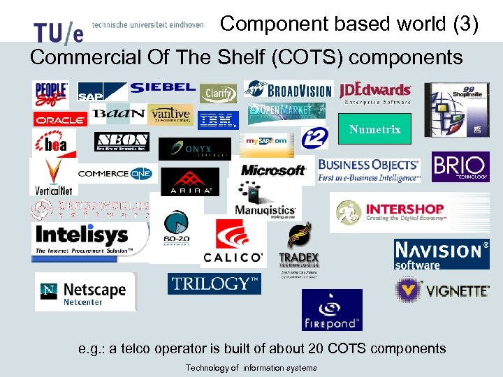 Component based world (3) Commercial Of The Shelf (COTS) components Numetrix e. g. :