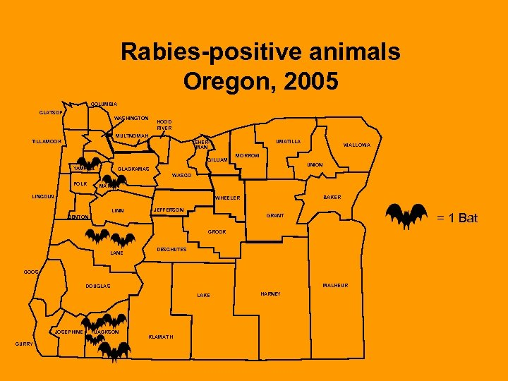 Rabies-positive animals Oregon, 2005 COLUMBIA CLATSOP WASHINGTON HOOD RIVER MULTNOMAH TILLAMOOK UMATILLA SHERMAN GILLIAM