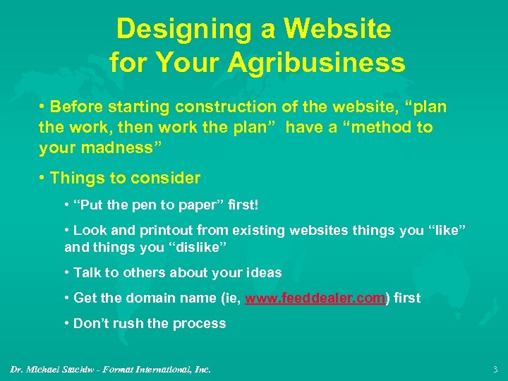 "Designing a Website for Your Agribusiness • Before starting construction of the website, ""plan"