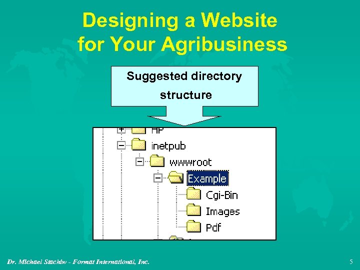 Designing a Website for Your Agribusiness Suggested directory structure Dr. Michael Stachiw - Format