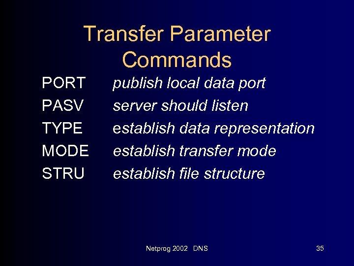 Transfer Parameter Commands PORT PASV TYPE MODE STRU publish local data port server should