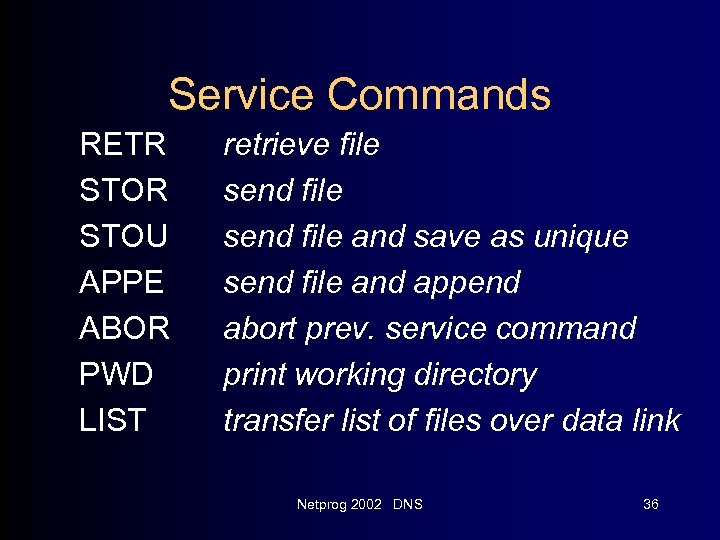 Service Commands RETR STOU APPE ABOR PWD LIST retrieve file send file and save