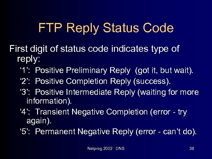 FTP Reply Status Code First digit of status code indicates type of reply: '